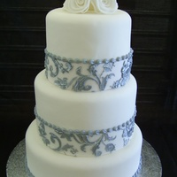 Silver Stencilled Wedding Cake