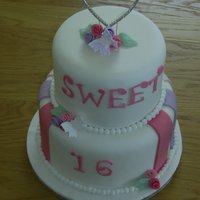 Sweet 16 Birthday Cake Dummy cake with fondant decorations and diamonte topper