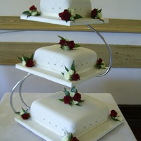 Wedding Cake With Diamond Imprint And Diamonte Wedding cake with diamond imprint and diamonte with fresh tea roses