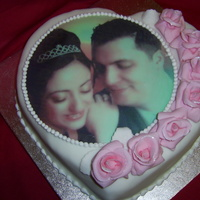 Valentines And Anniversary Cake With Sugar Roses And Edible Image