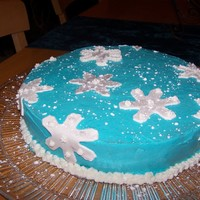 Snowflake Cake This is the cake I passed out to my neighbors for xmas. It's a chocolate cake with mint icing. I used fondant for the snowflakes &amp...