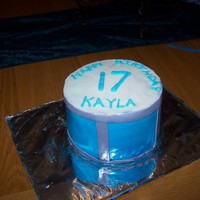 "Drum Cake This is a drum cake made with 6"" pans. It's covered in buttercream with fondant accents."