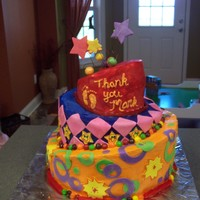 Topsy-Turvy Children's Cake This was my first topsy-turvy cake. I made it for our children's minister's last Sunday. The footprints represent our nursery,...