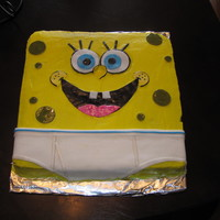 Sponge Bob Cake Sponge Bob is covered in buttercream icing and fondant. My son had the idea of putting him in the underwear. The kids were more excited...