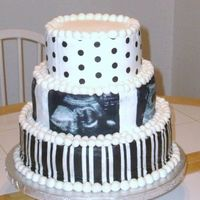 Baby Shower Ultrasound Picture Cake This is a 3-tier cake done in buttercream vanilla frosting. I used edible images to wrap around the cake. I used four of her ultrasound...