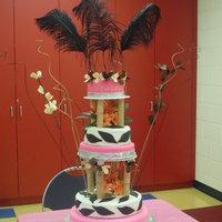 "Zebra Print Jungle Cake The theme was ""Where the Wild Things Are"". This was a 5-tier girly zebra print jungle cake. It was all done in fondant with..."