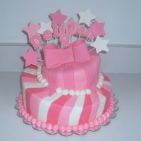 Topsy Turvy Shooting Stars Cake This is a 2-tier topsy turvy cake with gumpaste shooting stars. I also had her name and age (2) put along in with the stars.
