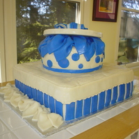 Gift Package Cake This is a gift package cake. Red Velvet cake with butter-cream filling and mmf icing.