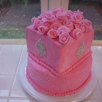 "Pink Butter-Cream ""bling Bling"" Cake All Butter-cream and silver dragees."