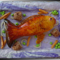 Christmas Red Fish  The tray is rice treats covered in mmf. The fish is Almond Lemon pound cake with strawberry syrup over top, covered in mmf. The potatoes...
