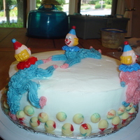 Clown Cake Chocolate cake with butter-cream icing. Clowns and balls are butter-cream also.