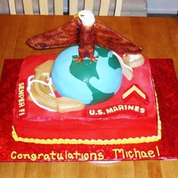 Marine Corps Cake Here is a cake we made for a new Marine who just graduated from boot camp. The eagle is made from Rice Krispee Treats and the wings are...
