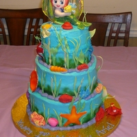 Little Mermaid Cake - Baby Ariel Here's a cake we made for a one year old's first birthday party. Ariel, Sebastian and Flounder are made from fondant. The shells...