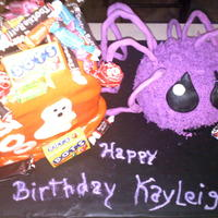 Halloween Birthday Cake Vanilla cake for both. The bag of candy was inspired by CC'ers. The candy is real candy. The Spider was inspired by a blog, but I can...