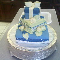 Blue And Yellow Three Tier Square Cake White and Chocolate cakes with butter cream frosting, covered in fondant. It was very muggy when I made this cake last spring. The fondant...