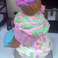 Cupcake Tower! Three feet of cupcakes, all different sizes....... the bottom cupcake is the Wilton large cupcake pan. The second cupcake is Nordicware,...