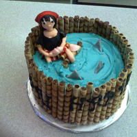 Pirate Girl Cake Red Velvet cake with cream cheese frosting; 40th Birthday cake. Birthday girl likes pirates so I put the Pirate in a sea of sharks! Pirate...