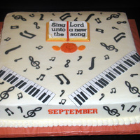 Musical Notes / Piano Buttercream Icing with Fondant Decorations