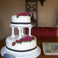 My First Tiered And First Wedding Cake This was my final cake for Wilton Course 3. Hindsight tells me I should have built the flowers up to give it more depth. Overall I wasn&#...