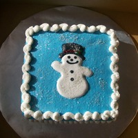"Snowman This was a 9"" square with vanilla buttercream frosting. I made the snowman from royal icing."