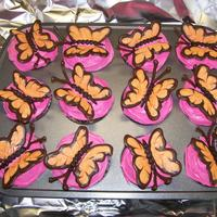 Butterfly Cupcakes I made these for my daughter and her friends. Devil's Food cake with hot pink vanilla buttercream. The butterflies are made from...