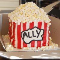 Popcorn This is a popcorn cake I did for my daughter's 3rd birthday. The popcorn is yellow and white marshmallows cut in half and then re-...