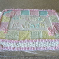 Girl Baby Shower Cake This is my 2nd baby shower cake :) i tried to kinda copy the napkins. its mostly buttercream other than the cut outs are fondant. i really...