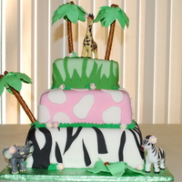 Jungle Cake Fondant covered cake with pretzels and royal icing for the palm trees.