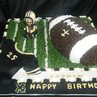 New Orleans Saints Took me three days to make this cake details I added took some time to dry. French vanilla cake with butter cream icing and butter cream...