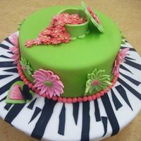 Dscf1195.jpg Final cake for fondant and gum paste class. The inside was a white cake mix checker pattern dyed neon green and pink. The filling was a...