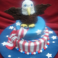 Stars And Stripes 4th of July 2011. Cake made from vanilla and coconut milk. The inside i baked it to look like a flag when you cut the cake. The eagle made...