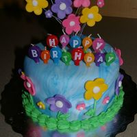 Flower Birthday Cake! I made this cake for my mom's birthday. I used floral wires for the first time!