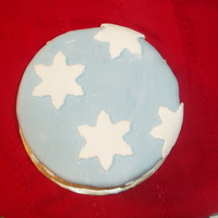 Snowflakes Dark chocolate cake with MMF covering and sugar covered MMF snowflake accents