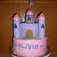 Princess Castle My first Fondant covered cake. WASC cake and rice cereal turrets and top.
