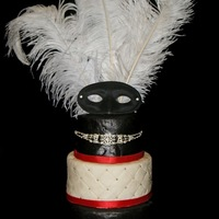Masquerade Black, White and Red Masquerade Cake. This is a 6 inch on top of and 8 inch on top of a 12 inch round. This is my first time doing the...