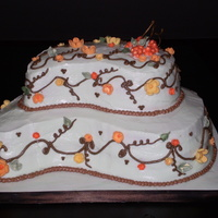 Fall Birthtday Cake! I made this cake for my birthday this week. I wanted to do something with fall colors, so this is how it turned out. Blossoms made with...