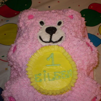 Teddy Bear Cake This was my first attempt to decorate a cake using a character pan for a baby girl's first birthday! TFL!