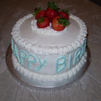Strawberries!! This was for my coworker's birthday. It is a yellow cake with bavarian cream filling and sliced strawberries. All cover with whipped...