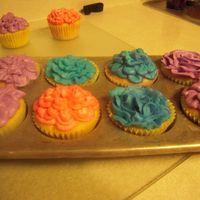 073.jpg Needed to practice making my flowers directly on a cake, so I did cuppies!