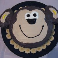 Monkey Cake This was my first cake ever! It was for my daughter's 1st birthday. It is a chocolate cake with chocolate cream cheese frosting. The...