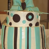 Birthday Cake This is a cake my friend and I made for her sister's birthday. It is covered in IMBC with fondant stripes and accents. My friend made...