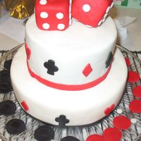Gambling Cake This is a cake I made for my Uncle and Aunt who love to gamble. For presentation I stacked the fondant poker chips. Bottom tier is WASC...