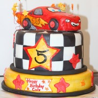 Cars Lightning Mcqueen Birthday Cake Made for a 5 year old's birthday.