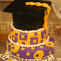 Purple And Gold Graduation Cake