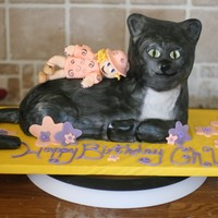 Kitty Cat Cake With Fondant Child Figure This cake was baked in a Wilton Lamb cake mold and carved to get the right shape. The tail is fondant and the cake is completely covered in...