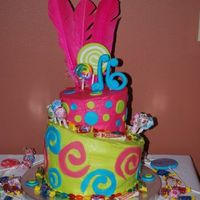 Sweet 16! Candy themed sweet 16 topsy turvey cake.