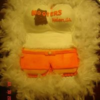 Hooters Of Helen, Ga Birthday Cake! 12 inch heart pan cut in half and fitted together cutting a diamond out of the bottom of the top heart. Boobs are made using the 3D ball...