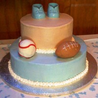 Sports Baby Boy Shower cake made from buttercream. It is unfished as I was incorrectly informed of the party start time.