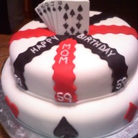 Royal Flush This is my very first fondant covered cake! Happy 59th Birthday Mom :)