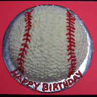 Baseball   Baseball cake made using half of ball pan. All BC.